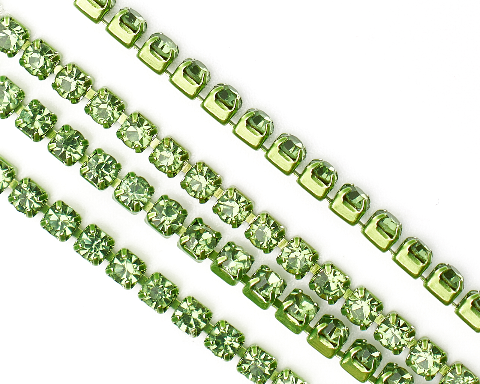 Цепочка со Стразами, Латунная, Звено 2×2 мм, Светло-Зеленая, купить Компоненты для рукоделия в интернет-магазине с доставкой по РФ
